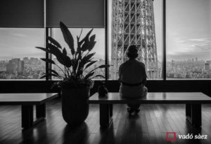 Home observant l'Skytree des de Solamachi Building a Tòquio