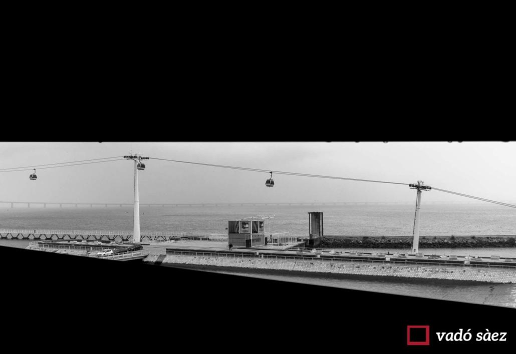 Vista panoràmica sobre el Parc das Nações i el telecabina a Lisboa