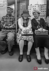 Avis asseguts en un vagó d'un tren de la JR a Tòquio
