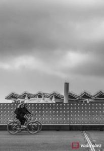 Parella en bicicleta pel parc del Fòrum a Barcelona